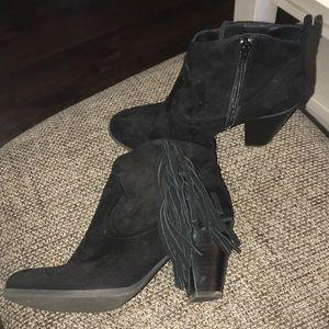 Madden Girl black fringe booties